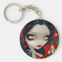 eye, blood, bloody, vampire, vamp, orchid, orchids, flower, flowers, gothling, red, eyes, big eye, big eyed, jasmine, becket-griffith, becket, griffith, jasmine becket-griffith, jasmin, strangeling, artist, goth, gothic, fairy, gothic fairy, faery, fairies, faerie, fairie, lowbrow, low brow, big eyes, strangling, fantasy art, original, lowbrow art, pop, surrealism, Keychain with custom graphic design