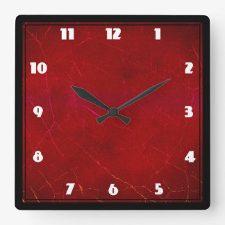 Blood Red Abstract Texture with Scratches Square Wall Clock