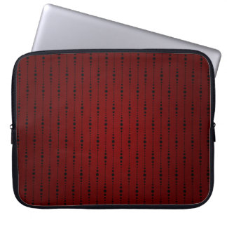 Blood Red and Black Beaded Fabric Laptop Sleeve