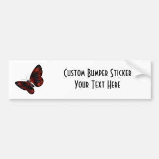 Blood Red & Black Winged Butterfly Flying Car Bumper Sticker