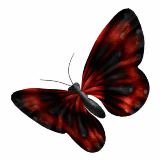 Blood Red & Black Winged Butterfly Flying Cutout