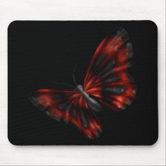 Blood Red & Black Winged Butterfly Flying Mouse Pad