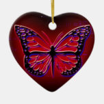 Blood Red Butterfly Double-Sided Heart Ceramic Christmas Ornament