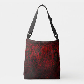 Blood Red Circuit Board Pattern on Grunge Texture Crossbody Bag