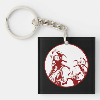 Blood Red Gas Mask Girls Single-Sided Square Acrylic Keychain