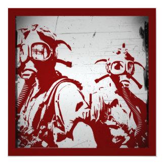 Blood Red Gas Masks Card