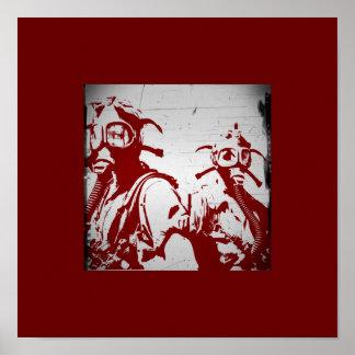 Blood Red Gas Masks Poster