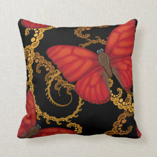 Blood Red Glider Butterfly Throw Pillow