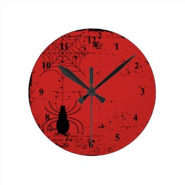 Halloween Themed Blood Red Halloween Spider Spider Web Distressed Round Clock