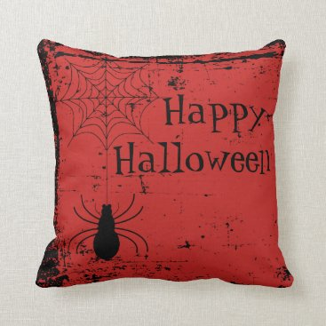 Halloween Themed Blood Red Halloween Spider Spider Web Distressed Throw Pillow