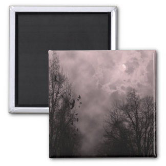 Blood Red Haunted Sky with Ravens Magnet