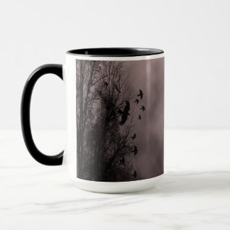 Blood Red Haunted Sky with Ravens Mug