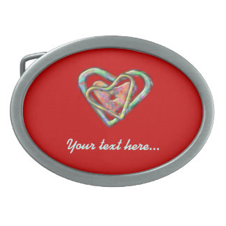 Blood Red Love Heart with Triple Heart Oval Belt Buckle