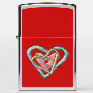 Blood Red Love Heart with Triple Heart Zippo Lighter