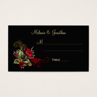 Blood Red Roses Baby's Breath Ribbons Place Cards