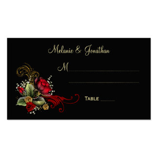 Blood Red Roses Baby's Breath Ribbons Place Cards Double-Sided Standard Business Cards (Pack Of 100)