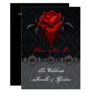 Blood Red Roses Black Damask Reception Only Card