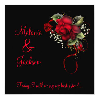 Blood Red Roses Post Wedding 5.25x5.25 Square Paper Invitation Card