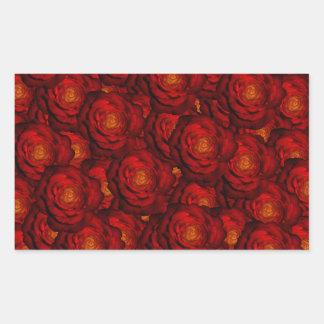 Blood red roses rectangular sticker
