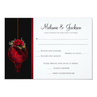 Blood Red Roses Wedding RSVP Card