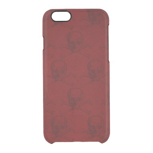 Blood Red Skull and Crossbones Goth Clear iPhone 6/6S Case