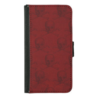 Blood Red Skull and Crossbones Goth Samsung Galaxy S5 Wallet Case