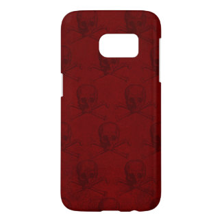 Blood Red Skull and Crossbones Goth Samsung Galaxy S7 Case