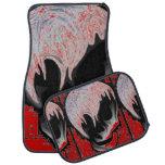 Blood-red skulls floor mat