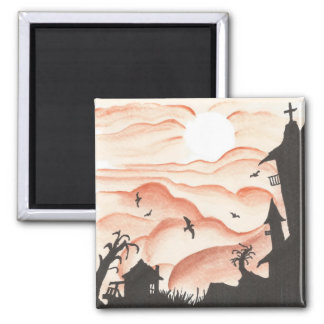 Blood Red Sky 2 Inch Square Magnet