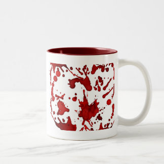 BLOOD RED SPLATTER COLLAGE PRINT Two-Tone COFFEE MUG