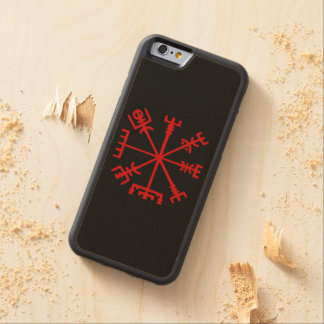 Blood Red Vegvísir (Viking Compass) Carved Maple iPhone 6 Bumper Case