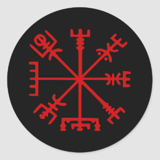 Blood Red Vegvísir (Viking Compass) Classic Round Sticker
