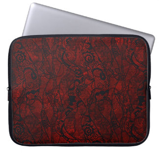 Blood Red Velvet and Black Lace Plush Fabric Laptop Sleeve