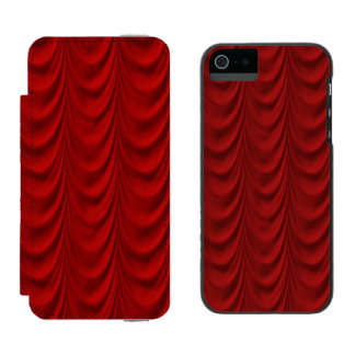 Blood Red Velvet and Black Lace Plush Fabric Wallet Case For iPhone SE/5/5s