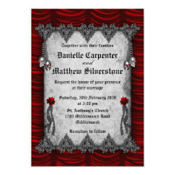 Blood Roses and Silk Red Gothic Wedding Invitation