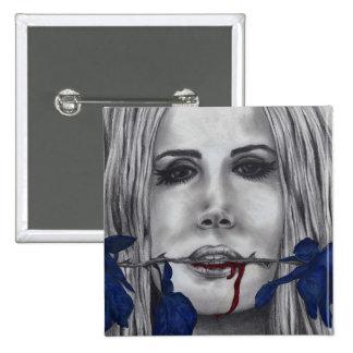 Blood Roses Blue Vampire Woman Portrait Goth Art Pinback Button