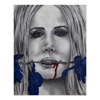 Blood Roses Vampire Woman Goth Original Art Poster
