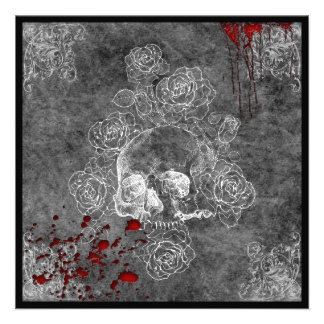 Blood Skull and Roses Horror Goth Wedding Personalized Invite