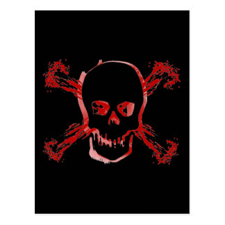 Blood Smeared Skull & Bloody Cross Bones Postcard