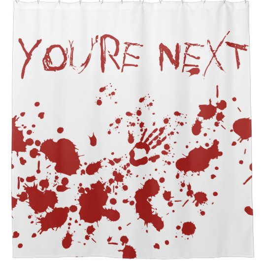 Blood soaked bloody hand print halloween shower curtain