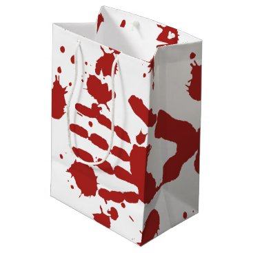 macdesigns1 Blood Soaked Hand Print Halloween Trick Or Treat Medium Gift Bag
