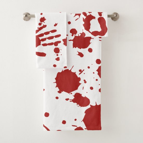 Blood Soaked Spatter Bloody Hand Print Halloween Bath Towel Set