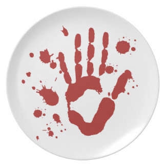 Blood Spatter Bloody Hand Print Halloween Props Dinner Plate