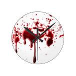 blood splatter 3 round wallclock
