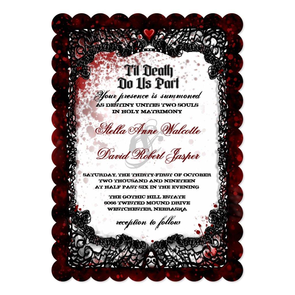 Blood Splatter Black White Wedding Invitation