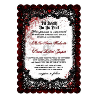 Blood Splatter Black White Wedding Invitation