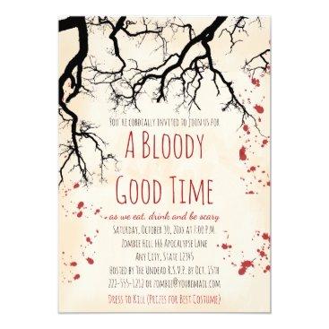 Halloween Themed Blood Splatter Creepy Halloween Invitation