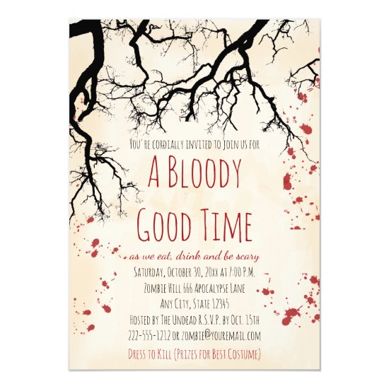 Blood Splatter Creepy Halloween Invitation