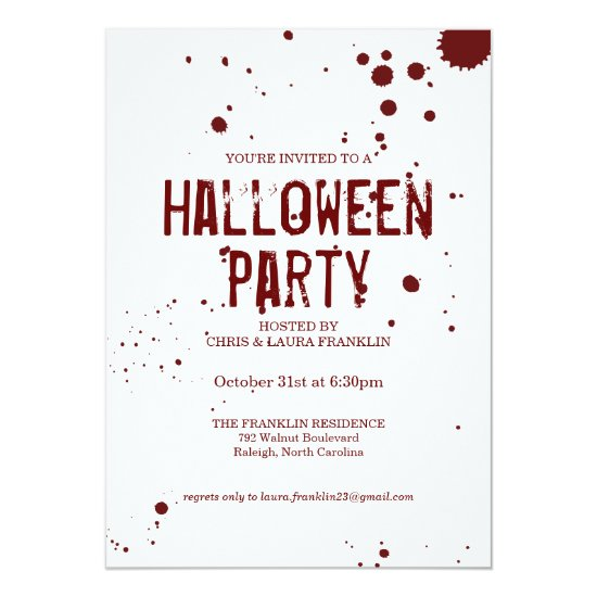 Blood Splatter Creepy Halloween Party Invitation