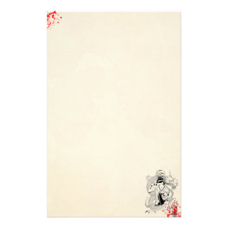 blood splatter geisha with fan dragon tattoo old stationery